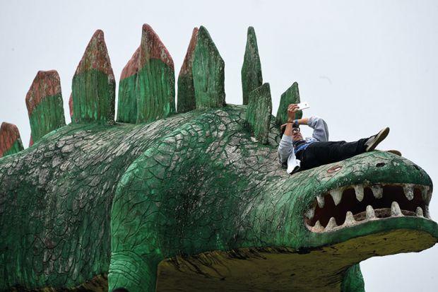 Man on dinosaur sculpture