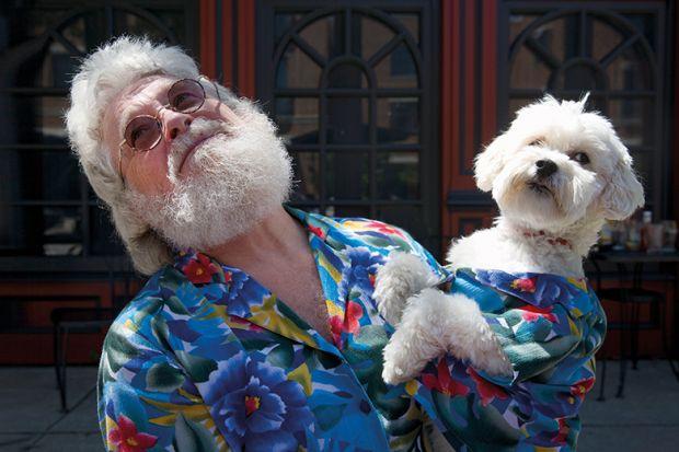 Man and dog dressed alike