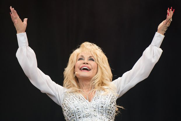 Dolly Parton performs on the Pyramid Stage on Day 3 of the Glastonbury Festival at Worthy Farm on June 29, 2014 in Glastonbury, England