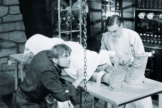 Dr Frankenstein and Igor in laboratory