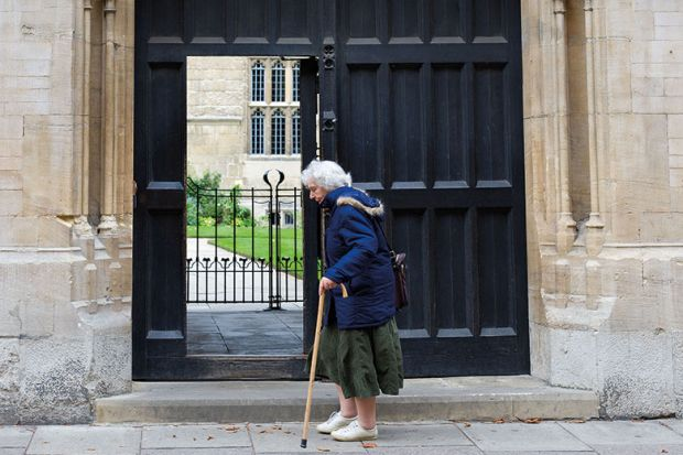 elderly woman outside oxford university