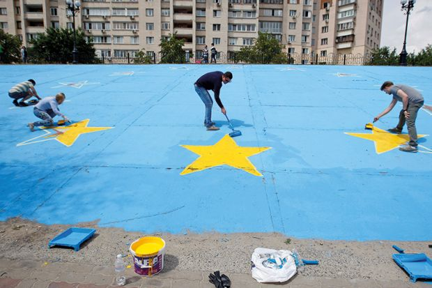 painting giant EU flag on ground