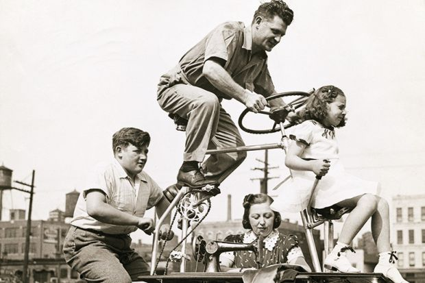 Family riding a bike