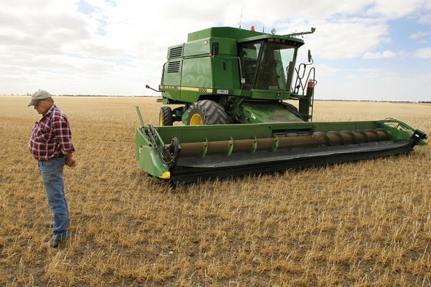Farmer and machine in field