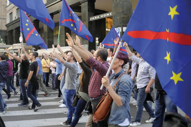 Milan, Italy, demonstration of neo-fascist group Casa Pound against the European Community