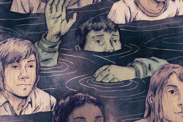 Illustration of students sinking