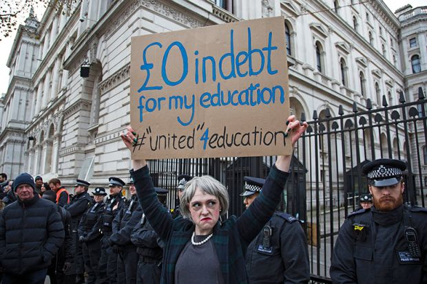 Protester dressed as Prime Minister Theresa May