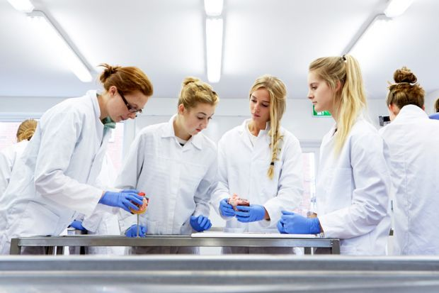 Female students in the lab