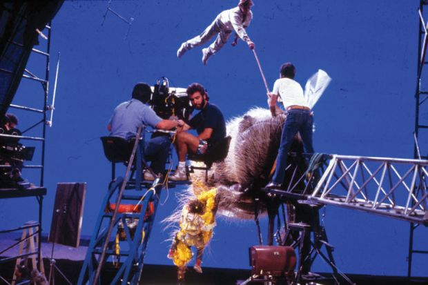 Film crew working on Honey, I Shrunk the Kids set, 1989
