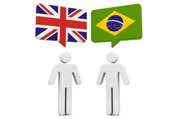 Flags of United Kingdom and Brazil