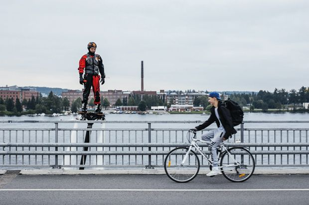 flyboard past cyclist