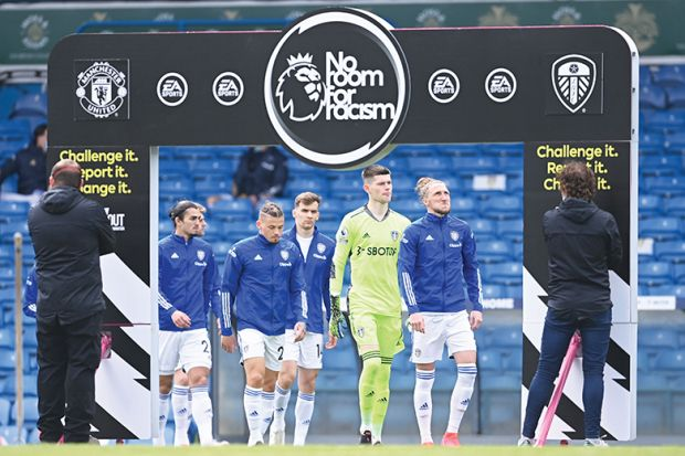 'No room for racism' board at Premier League match between Leeds United and Manchester United