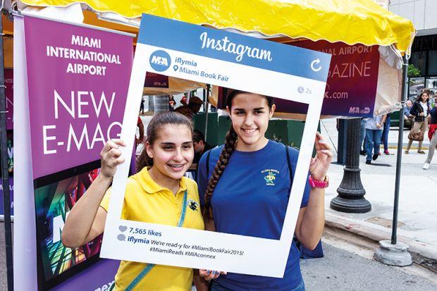 Young women inside Instagram frame