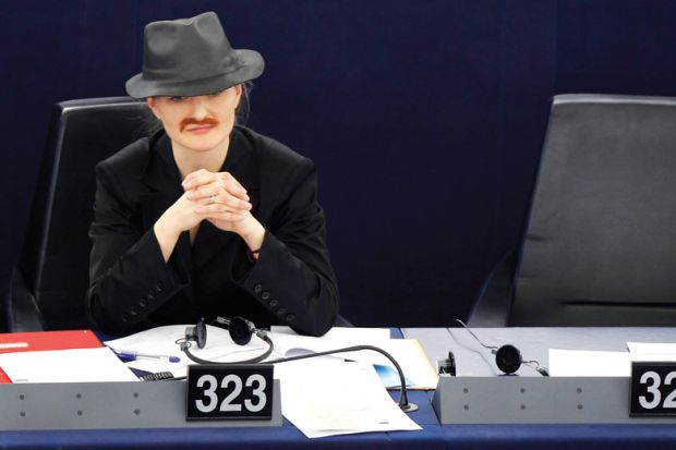 Franziska Brantner disguised as man, European Parliament, Strasbourg