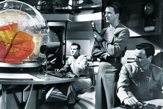 futuristic men looking at a simulation