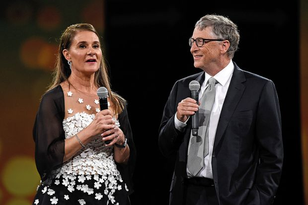 Melinda Gates and Bill Gates on stage during the Robin Hood Foundation's 2018 benefit in New York City.