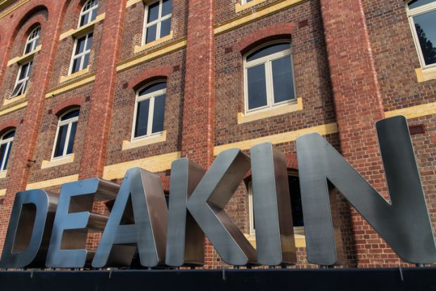 Geelong, Australia – April 19, 2014 Deakin University's Geelong Waterfront campus is housed in old woolstores built in 1893. More than 3,000 students attend this campus, studying architecture, nursing and health.