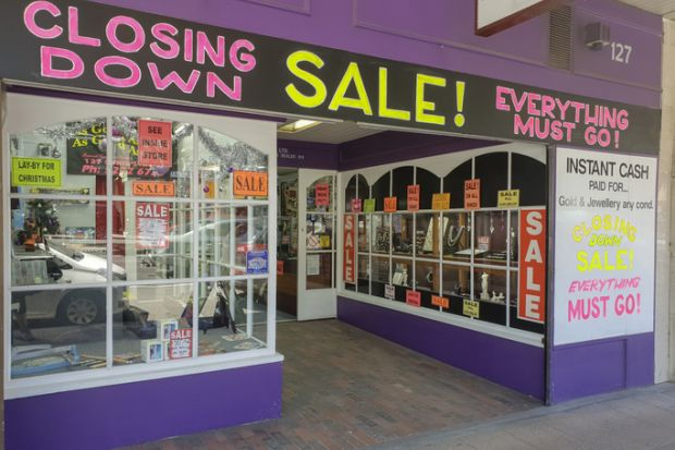 Geelong, Victoria - December 11 2018 The 'As Good As New' secondhand dealer on Ryrie Street. The store has a 'closing down' sign on the front.