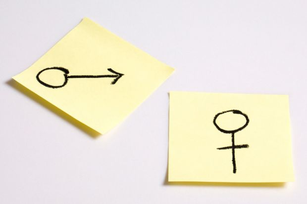 Gender symbols drawn on Post-it notes