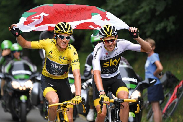 Geraint Thomas in an image from the Tour de France