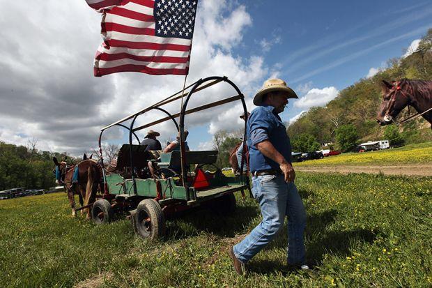 Wagon with stars and stripes flag. USA.
