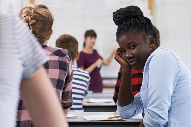 Bored girl in classroom