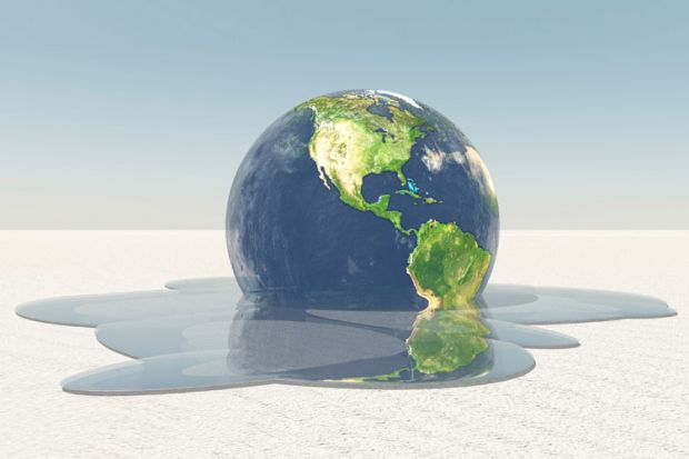 Globe melting into puddle of water