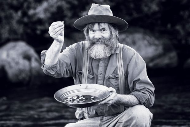 Gold rush prospector with gold nuggets