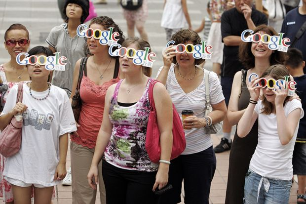 People wearing Google glasses