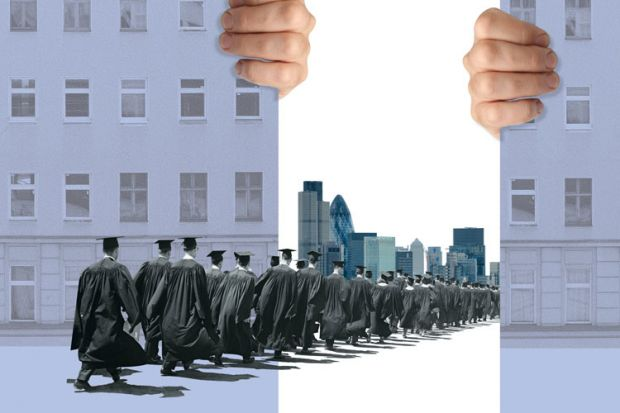 Graduates marching towards City of London