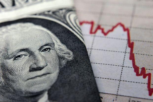 Graph next to a 1 dollar bill