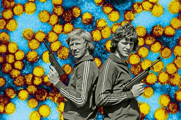 Vintage image of two men in tracksuits standing back to back holding guns illustrating opinion about back-to-back publication