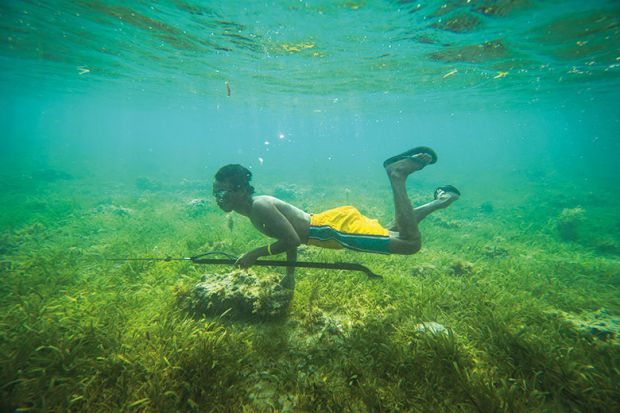 Boy hunting underwater
