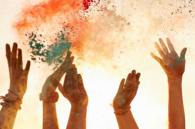 Hands with coloured powder