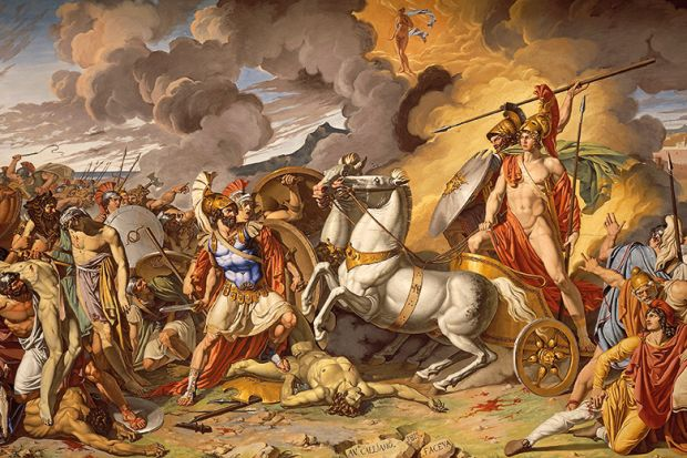 Hector's death and Achilles' triumphant protected by Mars, 1815, by Antonio Galliano (1785-1824)