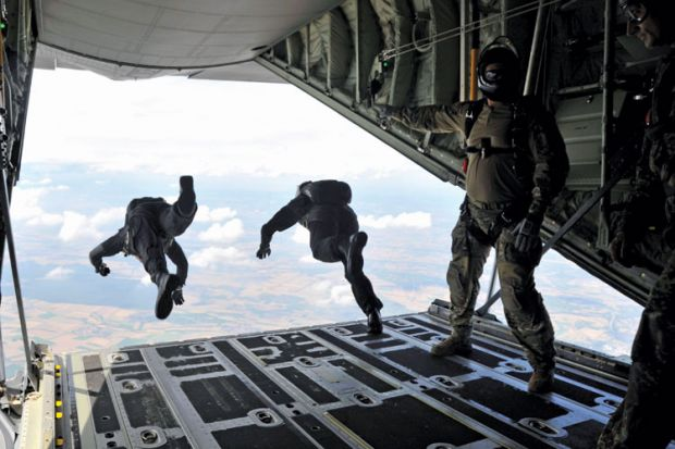 High-altitude, low-opening (HALO) paratroopers jumping from aircraft