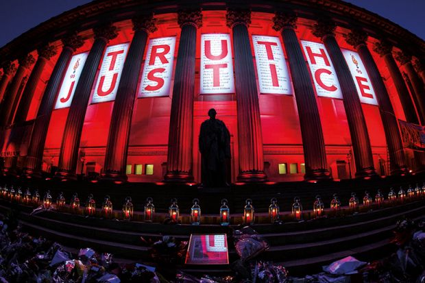 Hillsborough Truth and Justice banner, Saint George's Hall, Liverpool