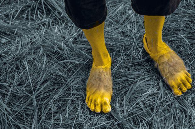 Hobbit feet standing on grass