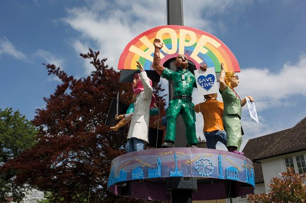 'Hope' rainbow sculpture depicting healthcare workers