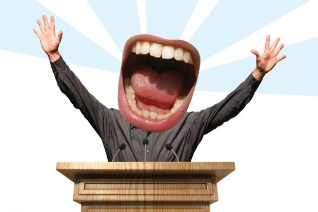 Huge mouth yelling from lecture podium
