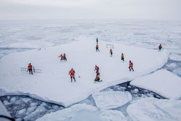 Football game on ice