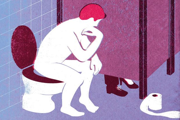 Illustration of man sitting on toilet, by David Humphries