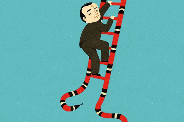 Illustration of a man climbing a ladder made out of a snake's body