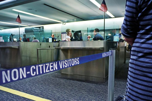 Immigration passport control queue for non US citizens