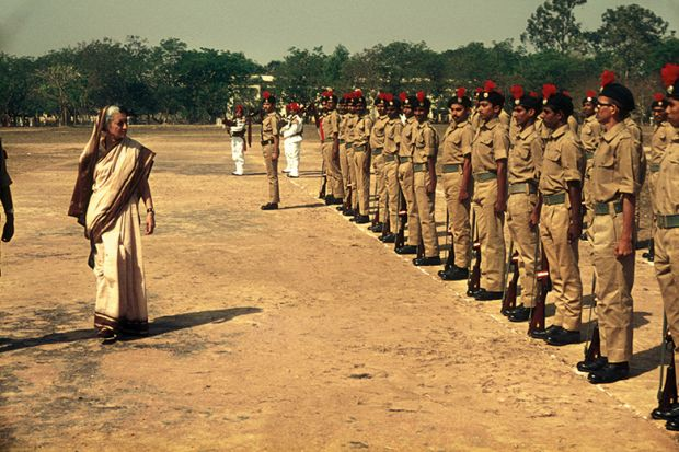 Prime Minister Indira Gandhi inspects the troops in Kolkata, India, in 1976
