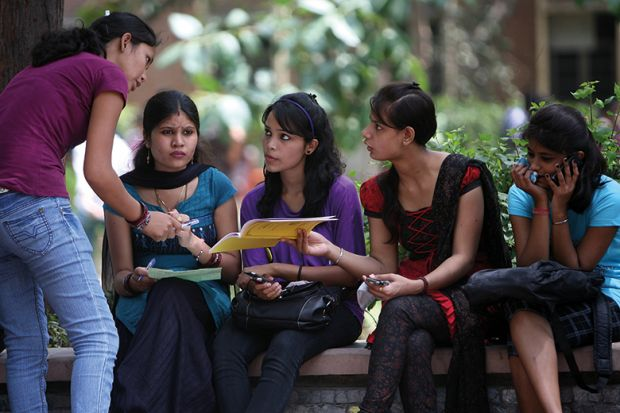 A group of female Indian students