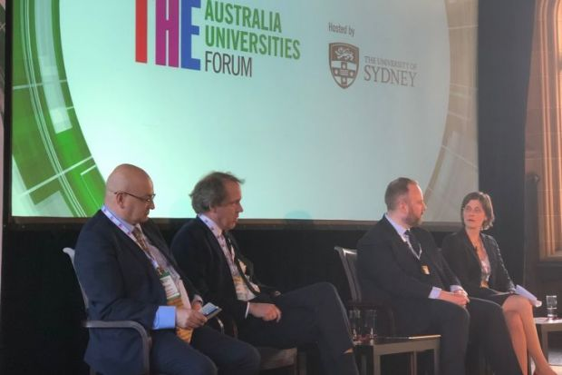 Industry engagement panel Universities Australia Forum Tony Peacock Duncan Ivison Luke Sheehy Carolin Plewa