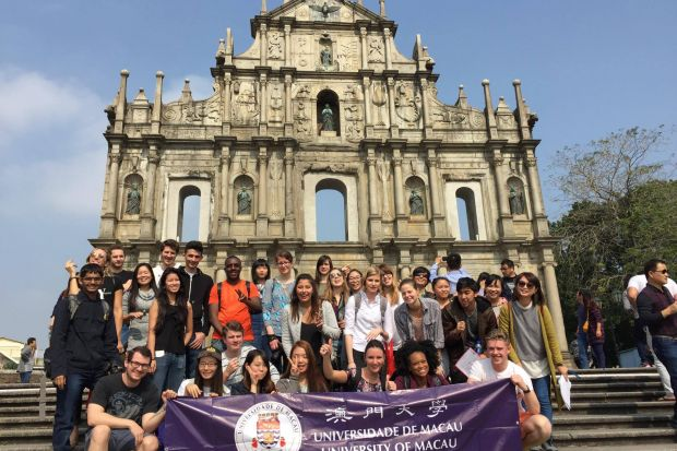 UMacau's international students at the ruins of St. Paul's in Macao