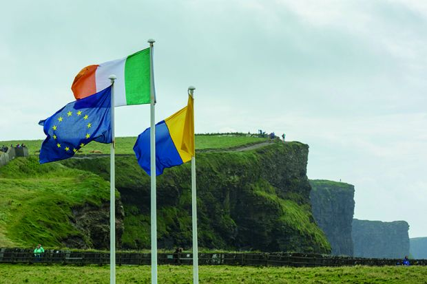 Irish, European Union and Clare flags flying