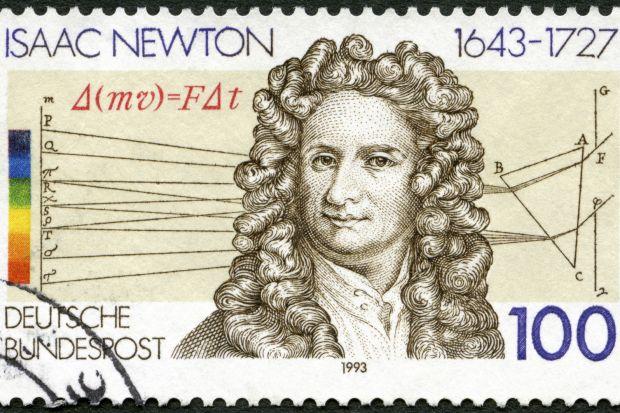 Isaac Newton on German stamp